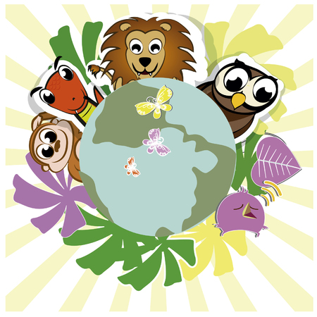 greengrass: group of animals friendly with green leaves around the planet earth  Illustration