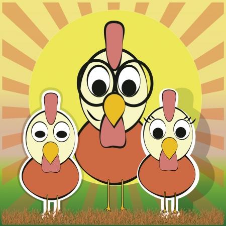 rooster at dawn: padre e figli, gallo e pulcini famiglia in un all'alba nel campo Vettoriali