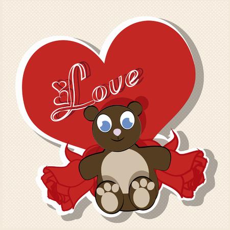 compromise: Tedy oso, detr�s de �l un gran coraz�n rojo y dos ramos de rosas sobre fondo blanco Vectores