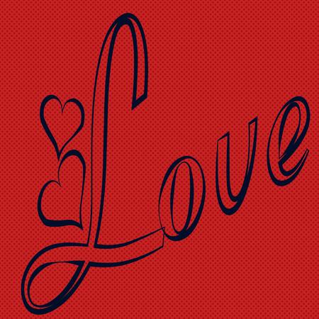 compromise: texto azul, gran amor, con el coraz�n, de fondo rojo Vectores