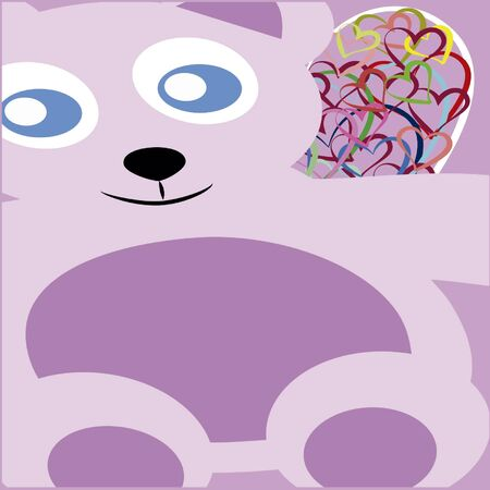 decentralized: tedy bear friendly, purple color with colored hearts, picture drawing canvas decentralized