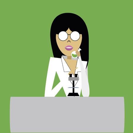 provexemplar: kvinna i glasögon med ett prov i handen och vit rock