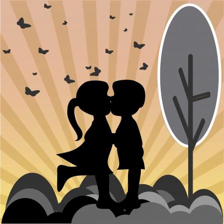 boy friend: silhouette of a kiss