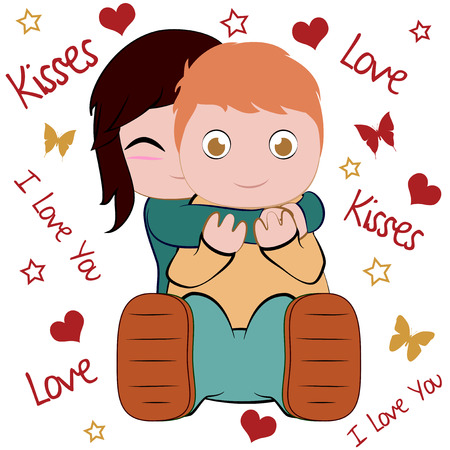 surprise hug, happy faces  Illustration