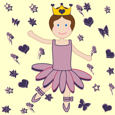 femine: girl with her purple tutu, behind her hearts, wreaths and flowers  Illustration