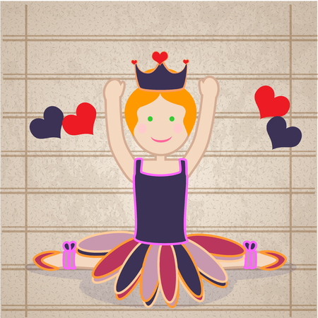 femine: dancer friendly, with its tutu and crown, hands up, smiling and hearts, vintage background