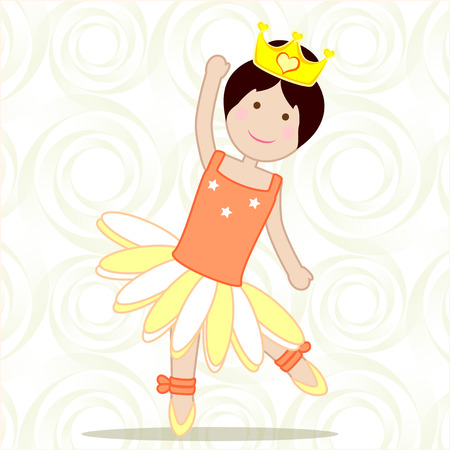 femine: dancer friendly, with its tutu and crown pattern background with circles