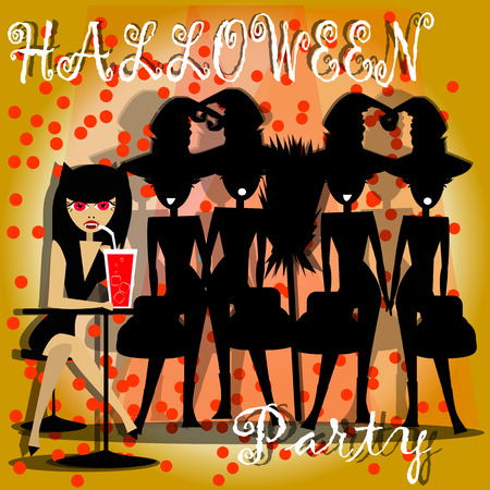 silhouttes: witches at a party, amigas of women vampire
