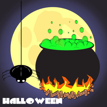 green potion pot full moon haunted Vector