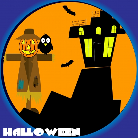 scarecrow guarding a haunted house  Vector