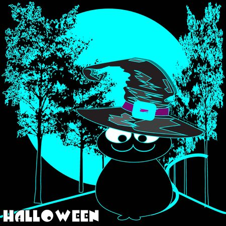 bewitched: cat bewitched with his hat, in the middle of a forest on a full moon
