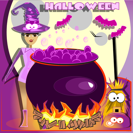 pink dress witch, halloween cooking dinner  Vector