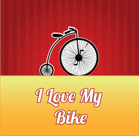 design high-wheel bicycle over color background Vettoriali
