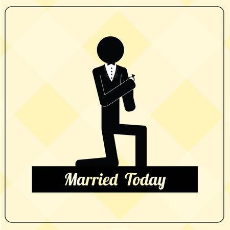backcground: Wedding vectors over yellow backcground