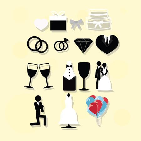 backcground: Set Wedding vectors over yellow backcground