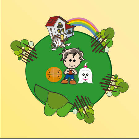 enviromental: Enviromental Illustration over color background