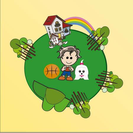 enviromental: Ilustraci�n Ambiental sobre fondo de color Vectores