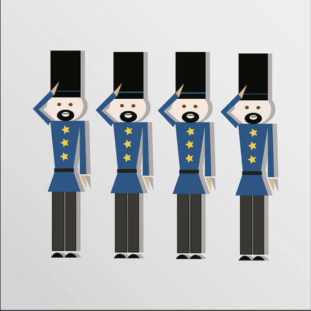 Toy soldiers over gray color background Vector