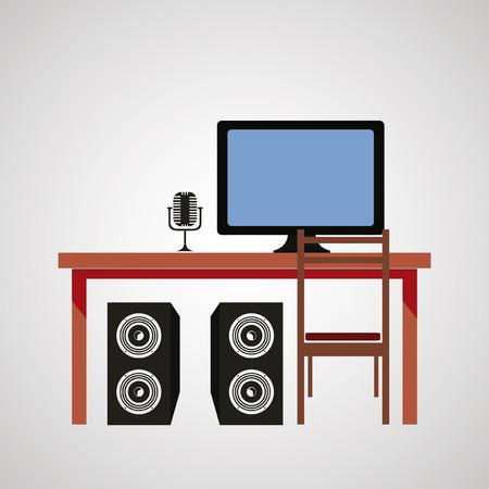 interior design: Office interior design Illustration