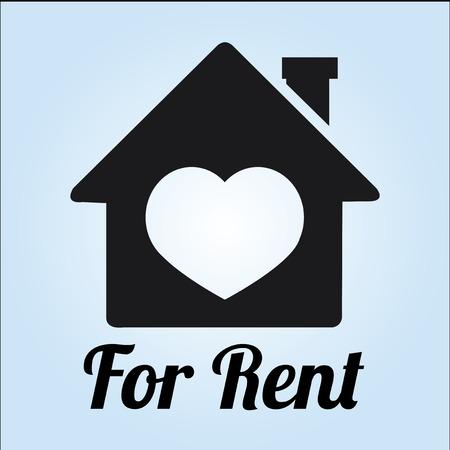renting: real estate illustration over color background
