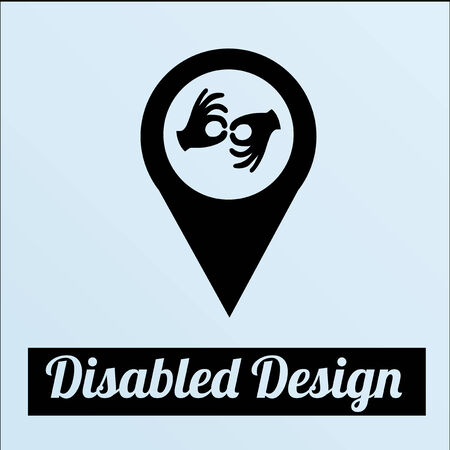 Disabled illustration or poster over color background Vector