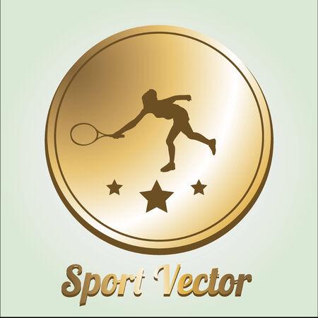 Sport design or medal illustration over color background Vector
