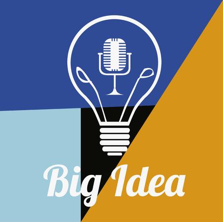 Bulb big idea over full color background Vector