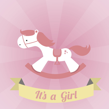 its a girl illustration over pink color background Vector