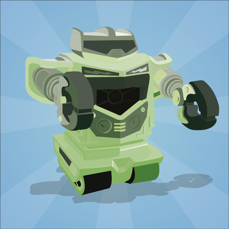 poster robot on a blue background Vector