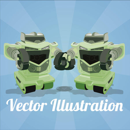 robot poster couple on a blue background Vector