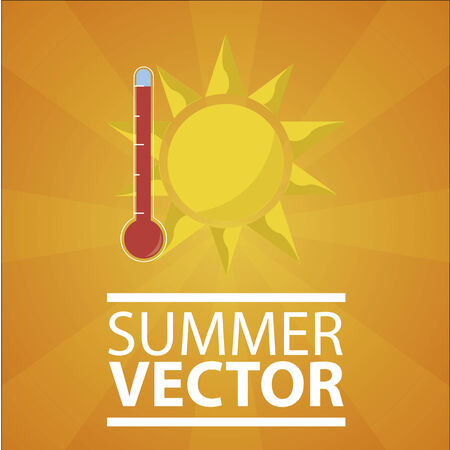 Hot weather illustration over orange background