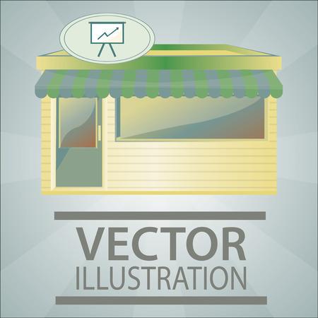 storefront illustration over color background Vector