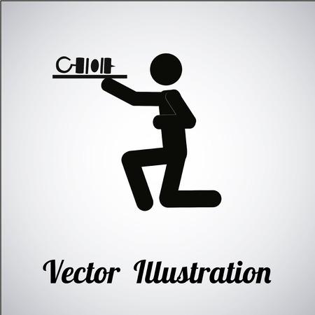 waiter illustration over gradient color background Vector