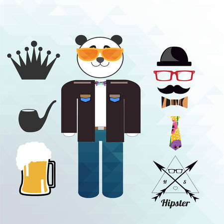 panda hipster and clothes illustration over blue gradient color background Vector