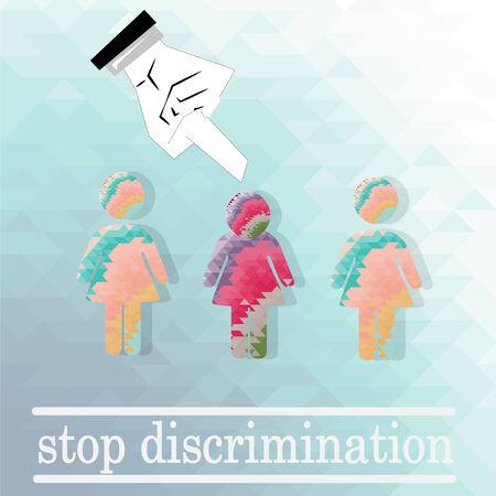chosen: discriminated against women illustration over blue color background