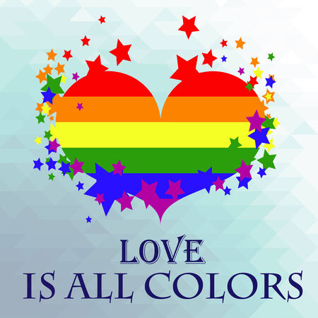 inclusive: colorful heart with the flag of the LGBT movement Illustration