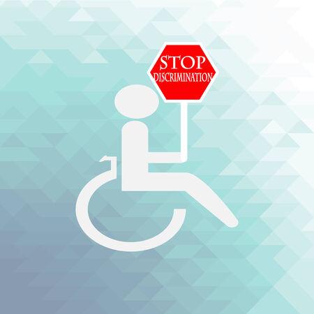 discriminate: disabled discrimination illustration over blue color background
