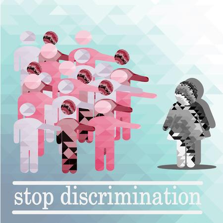 minority: discriminated against women illustration over blue color background