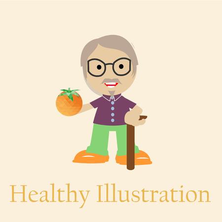 oldman: Smiling old man holding an orange