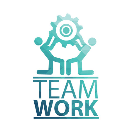 team working together: Team Work Illustration over white color background