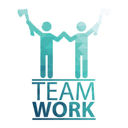 white work: Team Work Illustration over white color background