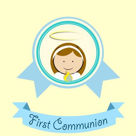 1st: First Communion illustration over color background Illustration