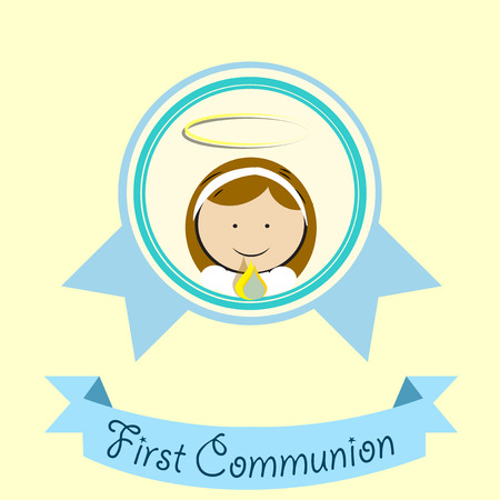 First Communion illustration over color background Illustration