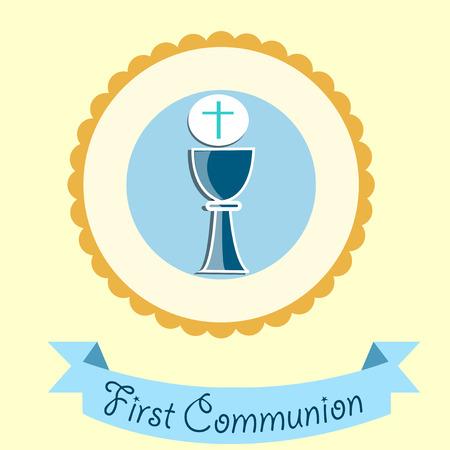chalice: First Communion illustration over color background Illustration