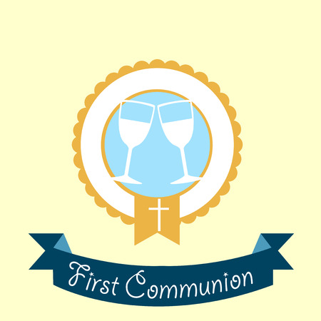 First Communion illustration over color background Vector