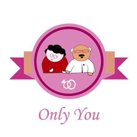 oldman: only you Love illustration over color background Illustration