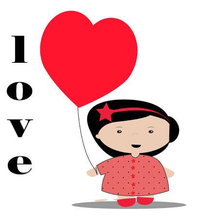 one girl only: Love illustration over color background Illustration
