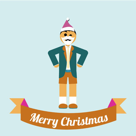 decoration decorative disguise: Christmas Illustration over color background