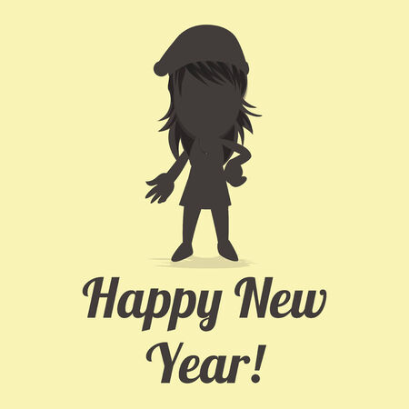 end of the days: Happy New year illustration over color background
