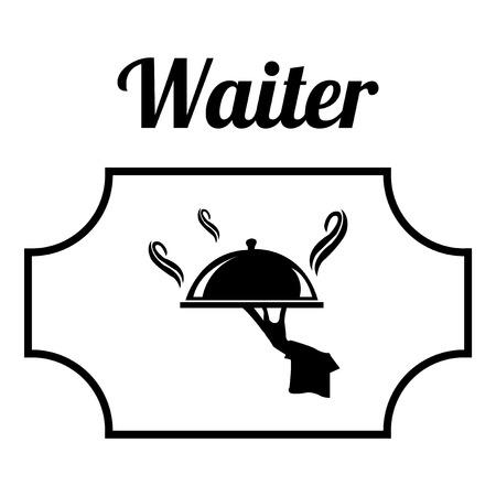 waiter tray: waiter illustration over white color background Illustration
